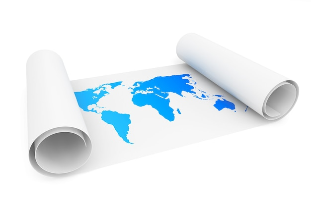 Papierrolle mit erdkarte auf weißem hintergrund