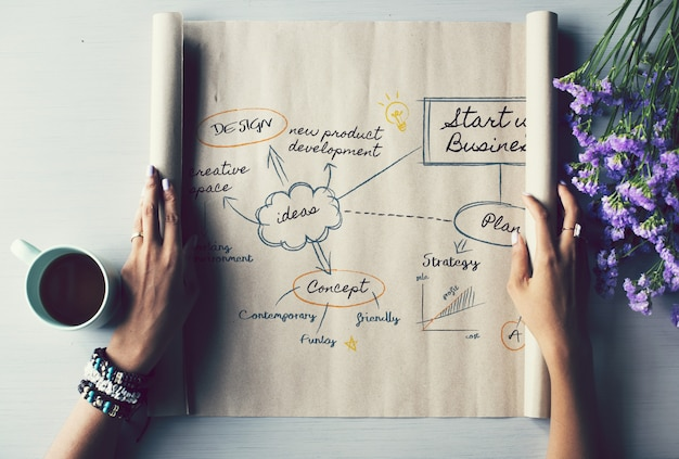 Papierrolle mit kreativen ideen