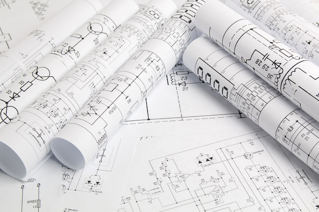 Papierrollen von elektrotechnischen zeichnungen