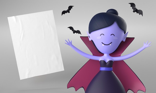 Papierseite mit vampirdekoration für halloween