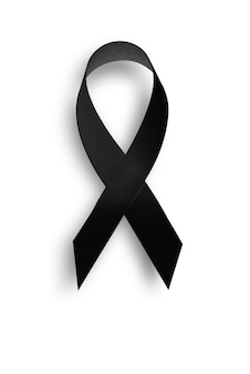 Papierstruktur schwarzes bewusstseinsband auf weißem hintergrund trauer- und melanomsymbol