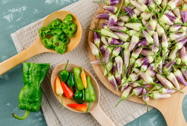 Paprika in holzlöffeln mit küchentuch flach auf gips und schneidebrett legen