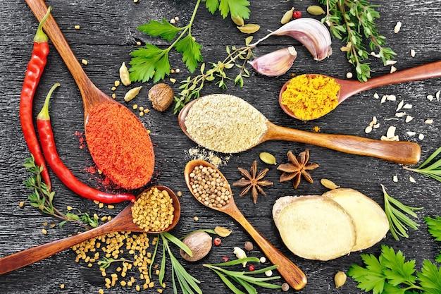 Paprika, ingwer, bockshornklee, kurkuma in löffeln, muskatnuss, kardamom, sternanis und koriander