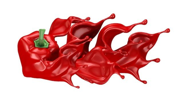 Paprika und ketchup. 3d-illustration, 3d-rendering.