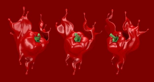 Paprika und splash ketchup, sauce, saft. 3d-illustration, 3d-rendering.