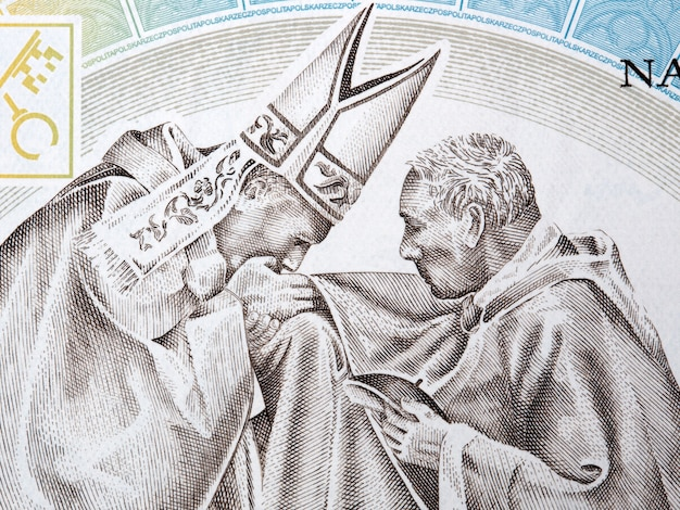 Papst johannes paul ii. mit kardinal wyszynski-porträt aus polnischem geld