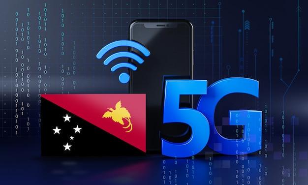 Papua-neuguinea bereit für 5g-verbindungskonzept. hintergrund der 3d-rendering-smartphone-technologie
