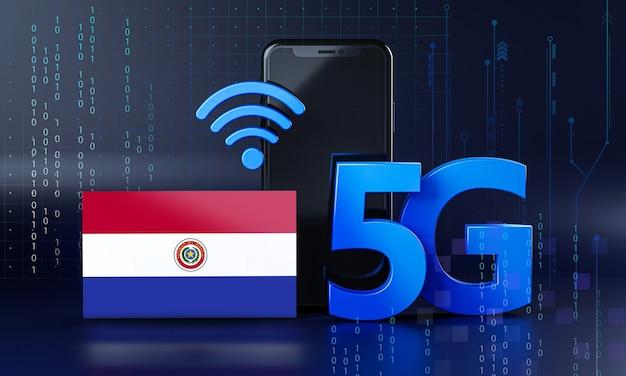 Paraguay bereit für 5g-verbindungskonzept. hintergrund der 3d-rendering-smartphone-technologie