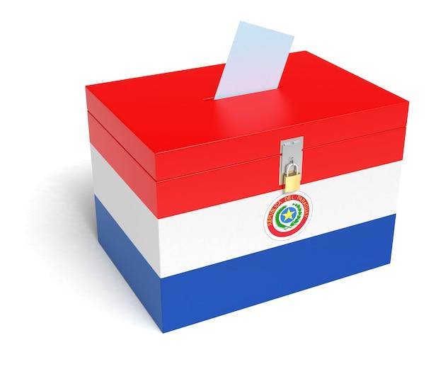 Paraguay-flagge wahlurne. isolierter weißer hintergrund. 3d-rendering.