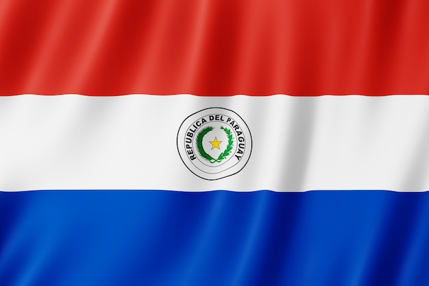 Paraguay-flagge weht im wind.