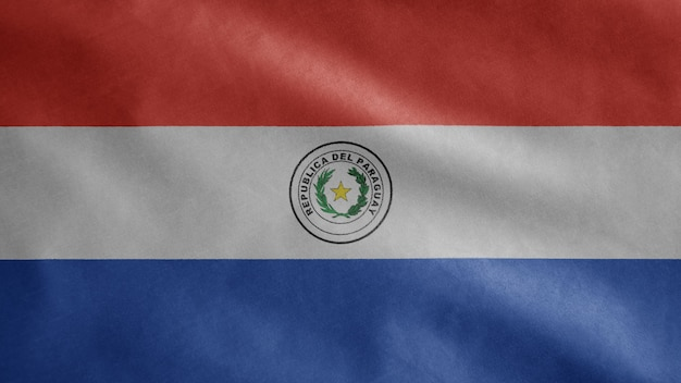 Paraguayische flagge weht im wind. nahaufnahme von paraguay banner weht weiche seide