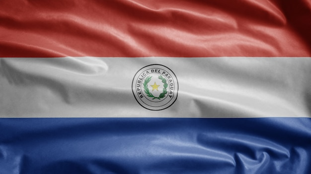Paraguayische flagge weht im wind. paraguay-banner weht weiche seide