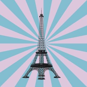 Paris-eiffelturm auf einem vintagen stern-form-rosa- und blauhintergrund. 3d-rendering