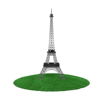Paris eiffelturm-statue über stück grasland auf weißem hintergrund. 3d-rendering