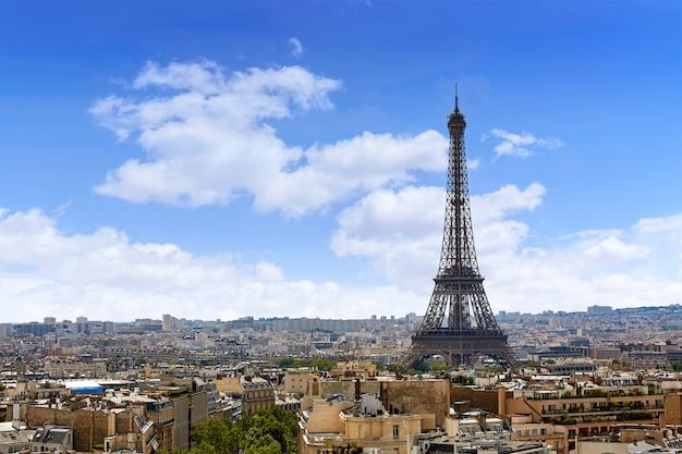 Paris-eiffelturm und skylineantenne frankreich