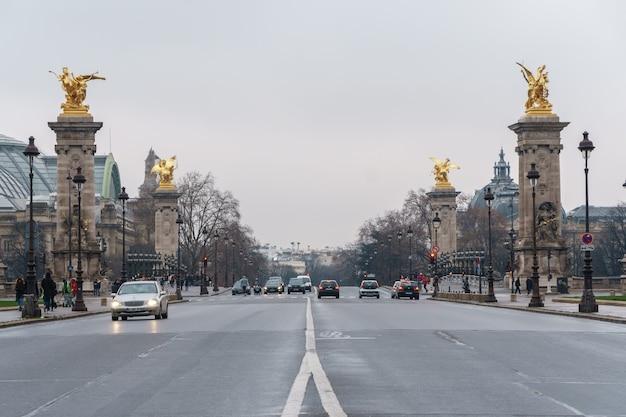 Paris, frankreich - 20.01.2019: historische brücke (pont alexandre iii) über die seine in paris frankreich. reise.