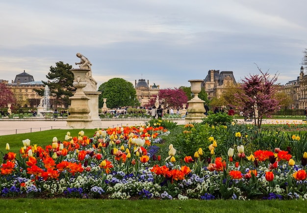 Paris frankreich april herrlicher tuilerien-frühlingsgarten und blick auf den louvre-palast