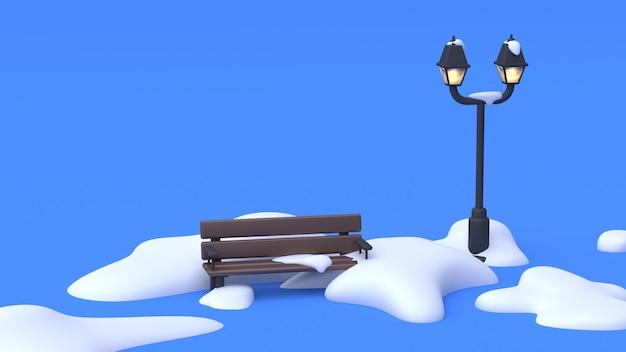Parkstuhllampe des blauen wiedergabe-naturwinterkonzeptes der szenenzusammenfassungs-karikaturart 3d