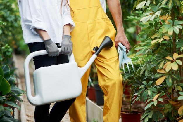 Partikelfoto von zwei gartenarbeitern in arbeitskleidung, die zwischen pflanzen stehen und spezialwerkzeuge halten.