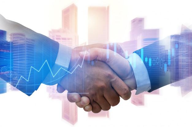 Partner. händedruck des investorgeschäftsmannes mit partner für erfolgreiches projekttreffen mit börse des diagrammdiagramms