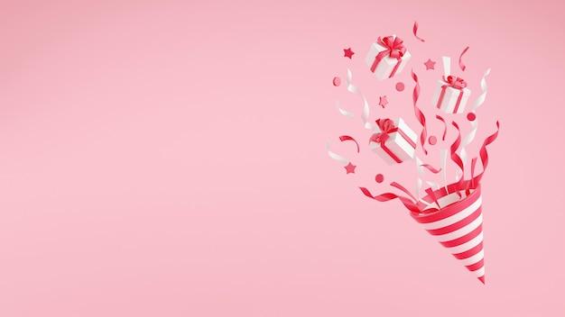 Party popper mit fliegendem konfetti und geschenkboxen 3d-darstellung mit kopienraum. rosa und weißer kracher explodiert mit serpentin und geschenken für geburtstags- und jubiläumsbanner.
