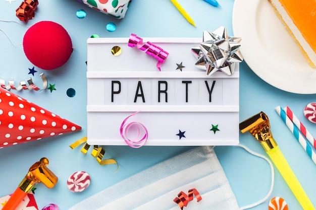 Party stillleben sammlung draufsicht
