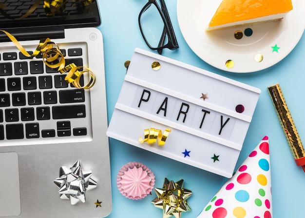 Party stillleben sammlung flach lag
