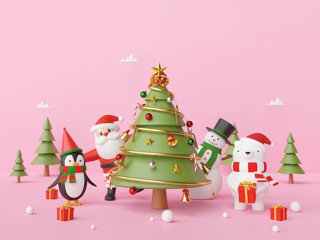 Party-weihnachtstag mit weihnachtsmann und freund auf einem rosa hintergrund, 3d-rendering