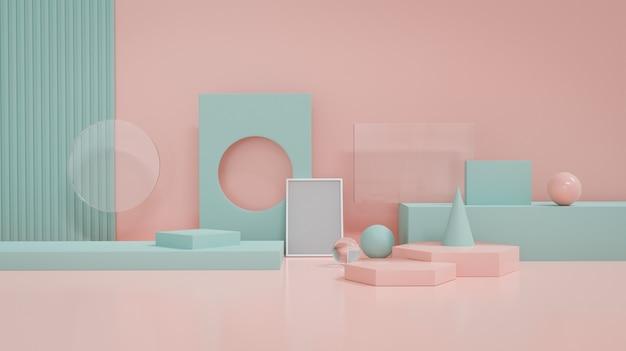 Pastellblaue und rosa geometrieform-objektdekor für produktanzeigeplattform. 3d-rendering.