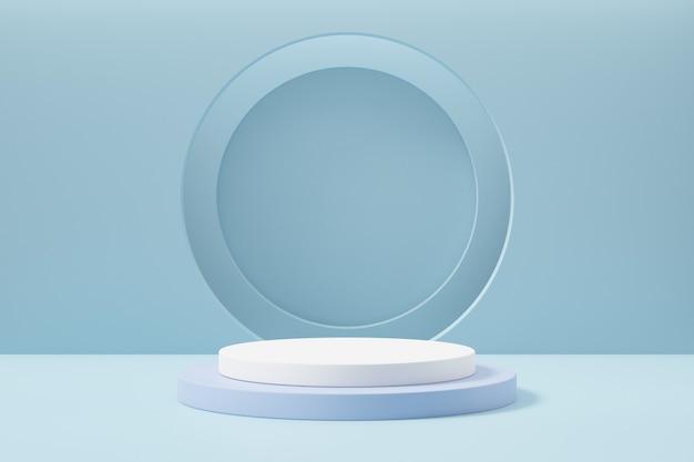 Pastellblauer weißer zylinder runder blockpodest und kreisstapelhintergrund. 3d-rendering-abbildung.