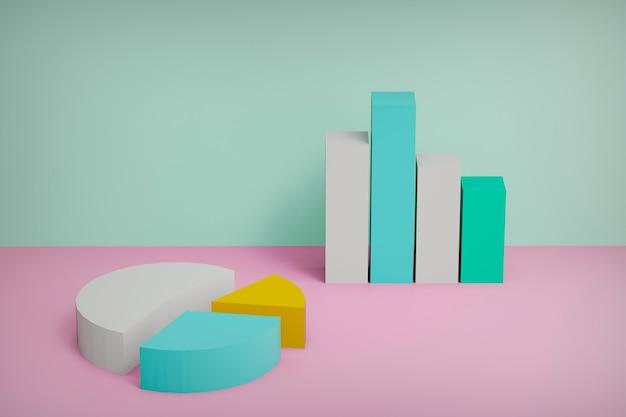 Pastellfarben wachsende balkendiagramme und kreisdiagramme