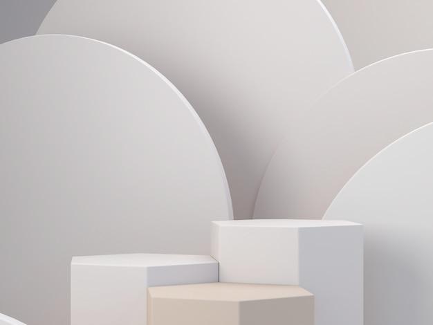 Pastellfarbenformen auf abstraktem hintergrund der natürlichen pastellfarben. minimales sechseckiges podium. szene mit geometrischen formen. leere vitrine, präsentation kosmetischer produkte. modezeitschrift. 3d rendern.
