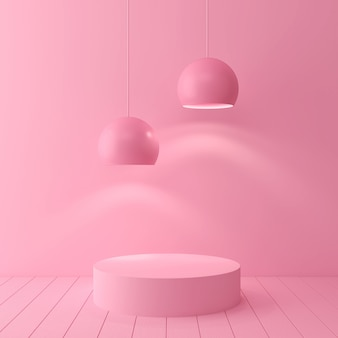 Pastellfarbszene der abstrakten geometrischen form minimal, design für kosmetik oder produktanzeigenpodium 3d übertragen.