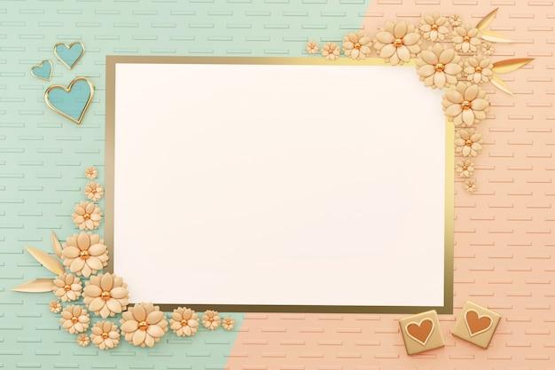 Pastellgegenstand-ebenen-lage-liebes-karten-grenzrahmen mit blumen-und herz-dekoration, 3d übertragen.