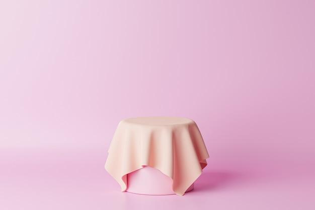 Pastellrosa zylinder podest oder sockel für produkte mit stoff. 3d-rendering im minimalstil.