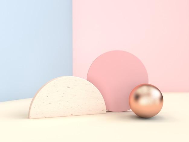 Pastellszene 3d der geometrischen form, die blaue rosa wand überträgt