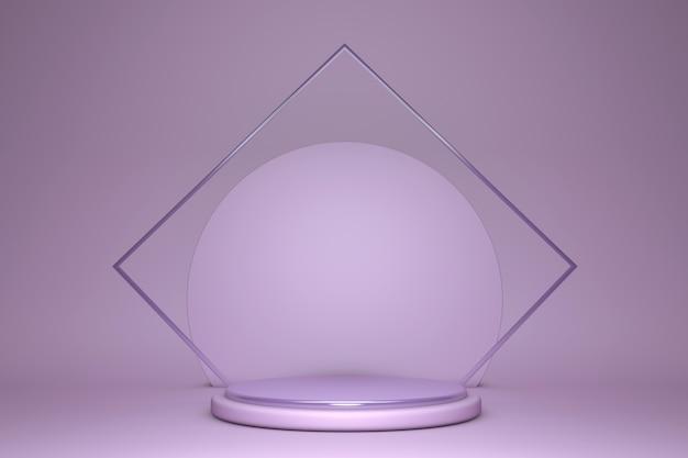 Pastellviolett-podium 3d 3d rendern. produktpräsentation im laden, leerer raum, leerer sockel, minimale studiobühne. Premium Fotos