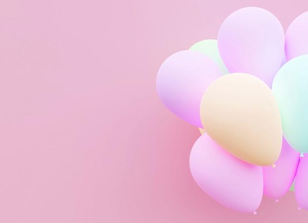 Pastellwiedergabe des ballon-hintergrundes 3d.