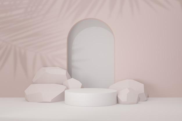 Pastellzylinder-podesthintergrund. weiße runde bühne mit steinhintergrund in hellrosa themafarbe. 3d-darstellungs-rendering-bild.