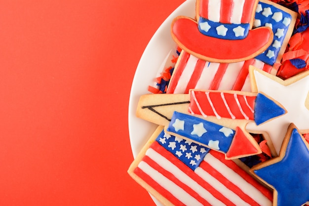 Patriotische kekse für den 4. juli.