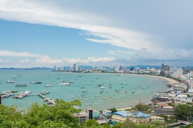 Pattaya strand und stadt luftbild, chonburi, thailand?