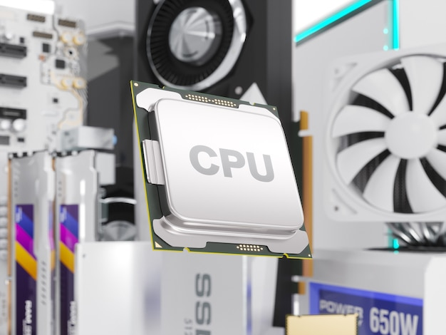 Pc-hardwarekomponenten isoliert auf weiß. 3d-illustration