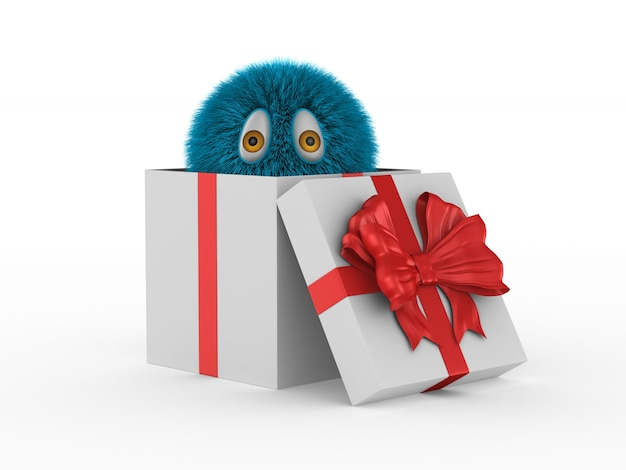 Pelziges monster in geschenkbox auf weißem hintergrund. isolierte 3d-illustration