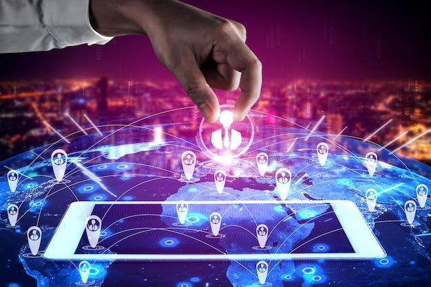 People network, human resources und customer relationship management crm-konzept