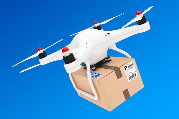 Percel-versandkonzept. quadrocopter-drohnen, die ein paket auf einem blauen himmelshintergrund liefern. 3d-rendering