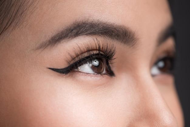 Perfekte form der augenbrauen. schöne makroaufnahme des weiblichen auges mit klassischem eyeliner-make-up.