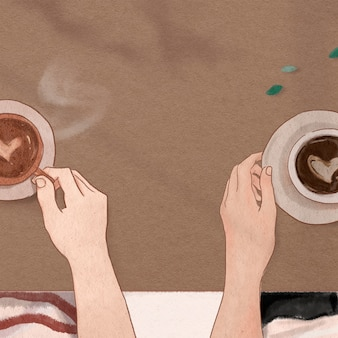 Perfekter kaffee-date valentinstag ästhetische illustration social-media-post