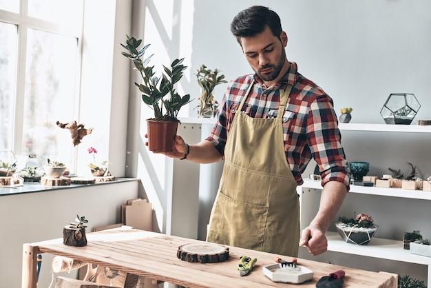 Perfektes geschenk für jedes zuhause. hübscher junger mann in schürze mit topfpflanze