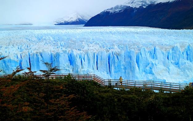 Perito moreno-gletscher mit dem betrachtungsbalkon und dem herbstlaub, nationalpark los glaciares, patagonia, argentinien