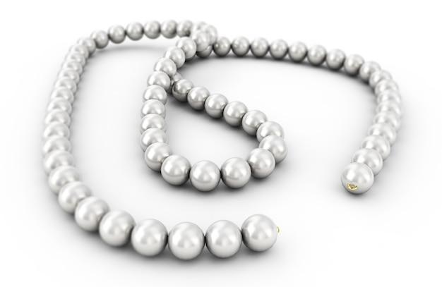 Perlenkette isoliert, 3d-rendering